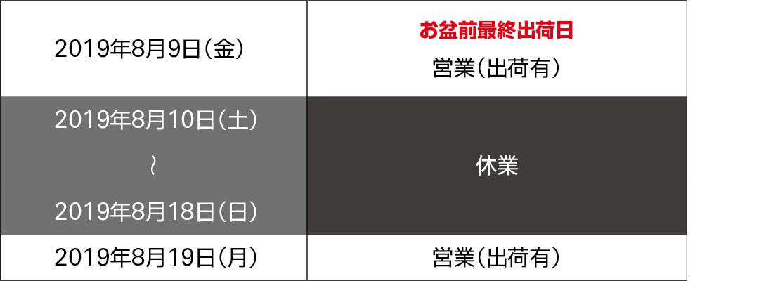 2019お盆休業スケジュール
